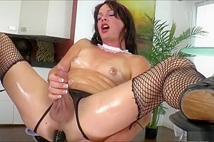 TS vixen Gina Hart shoots cum after an awesome solo