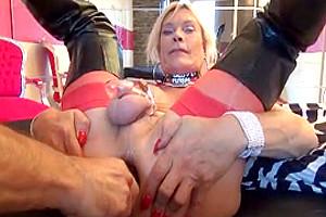 sissy slut encaged double anal swallow