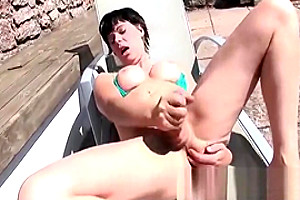 Joanna Jet Stroking Her lady-man cock Poolside