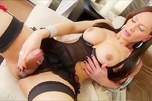 Tgirl beauty Ana Clara hand surfs her shecock and shoots cum