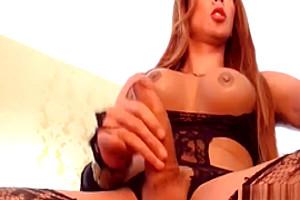 breasty ladyboy Wanks Her subrigid penis