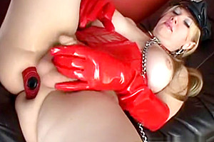 blonde shemale In Latex wank his erected rod
