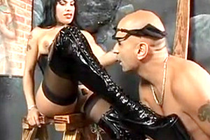 delicious tranny Foxxy gets her tiny knob In Leather licked