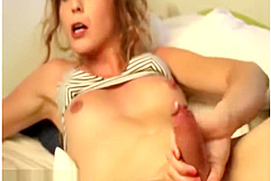 Beauty blonde shemale big cock toy