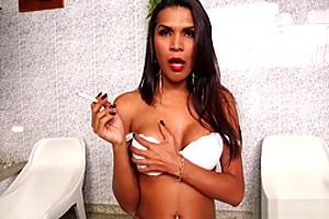 Sexy Big Tits And Ass Brazilian Shemale Smoking Fetish