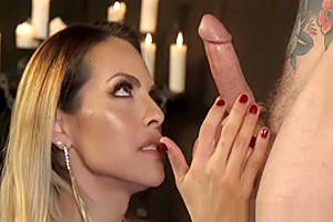 Busty latina TS dominates over inked guy