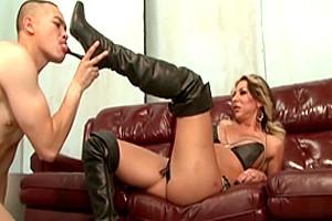 TS MILF dominates her boy slave