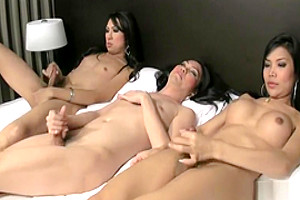 Three ladyboys wank shecocks until jizz is flying everywhere