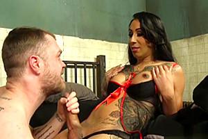 Tattooed big cock tranny anal fucks hairy guy