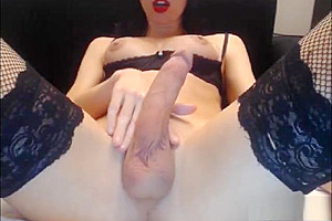 pretty Crossdresser gigantic cock cam stockings