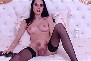 lady-boy playgirl Strokes Her throbbing pecker In Solo Masturbation