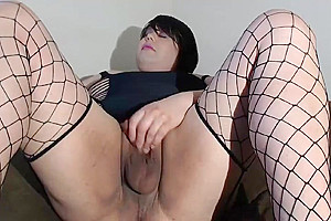 Linda In Her nasty One Piece Tugging Her Pussystick