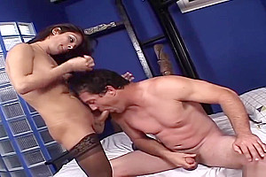 A sleazy blonde shemale And Two dudes For A group bang