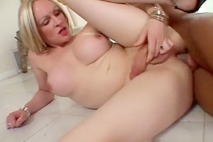 Busty shemale buttfucked after sucking cock