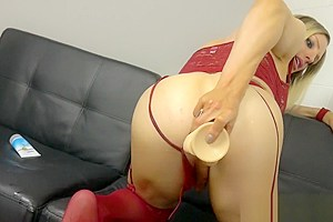 Lingerie tgirl spreading ass before anal