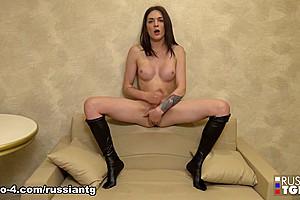 Alexandra Strokes Her Appetizing Cock - Russian-TGirls