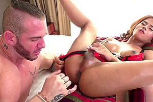 Busty asian Tbabe barebacked by big dick