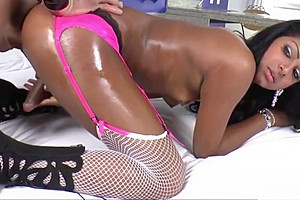 Yummy choco tgirl Kelly Costa ass fucked by her lover stud