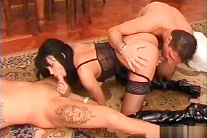 Sexy latina shemale fucked by two lucky guys