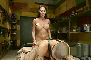 Guy face and ass fucked by tranny