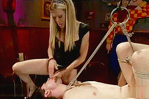 Bound guy gets fucked in the ass by crazy blonde