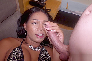 Ladyboy Dara Worships Big Raw Dick