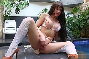 Lactating Tgirl Esmeralda Brazil Gets Creative with Her Asshole