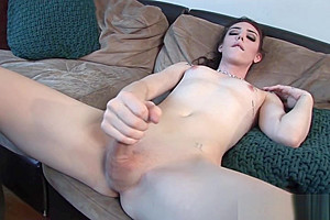 Auditioning trans babe solo tugging her wang
