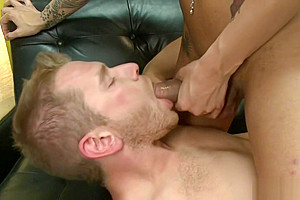 Handsome guy anal fucked by big cock shemale