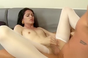 Ass pounded tgirl spunked