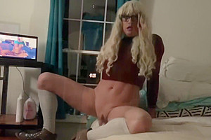 Fuckin Hot Transsexual Slut Watching Porn, Fucking Her Pussy, in the Window
