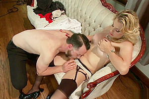 Busty blonde shemale fucks small cock male