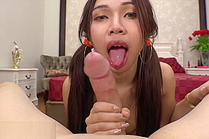 Sexy tranny put whole cock into her sweet Asian mouth