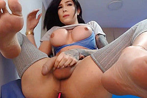 Awesome brunette feet and cock play - part 1