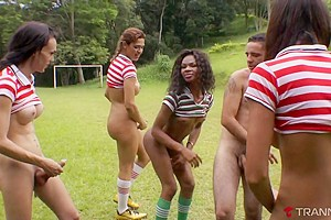 Laisa Lins & Kamilli Santos & Thayna & Isabelli Killer & Adelaide Novaes & Aline Garcia & Rodolfo Rodrigues in Dude Gets Gangbanged By Pack Of TGirl Soccer Stars - Tranny