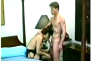 Vintage Tgirl in stockings gets analed in bedroom
