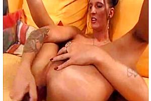 Tall Tgirl fists her ass